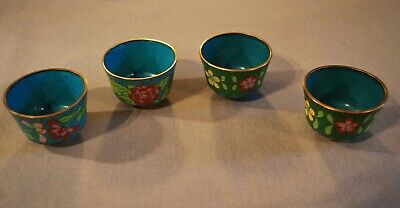 Vintage Chinese Cloisonne set 4 of Small Sake Cups w/ Flowers Mint Condition