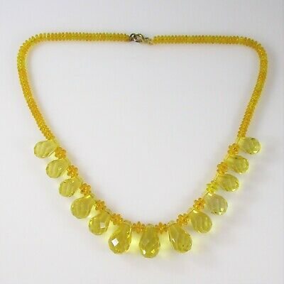 """1930's Yellow Crystal Necklace Vintage 49.9g 