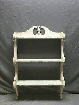 Vintage Shabby French Country Cottage Chic White Wood Wall Shelf Old 208-19L