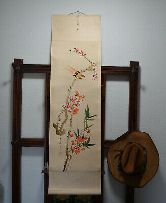 Vintage Hand Painted Hanging Japanese Silk Scroll Japan Antique Art