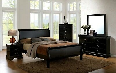 1pc Queen Size Master Bedroom Furniture Set Solid Wood Veneer Black Finish Bed