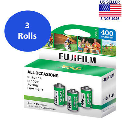 3 Rolls Fuji Superia X-TRA 400 FujiColor CH 135-36 Color Negative Film FRESH