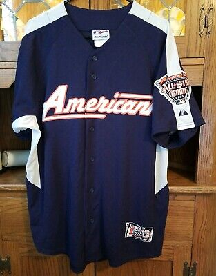 2dca4a54a38 Majestic MLB American League All Star Game 2005 Mens Button Up Jersey Shirt  Sz.L