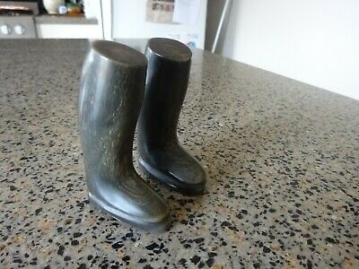 Pair of Victorian miniature boots of carved horn antique shoes collectable
