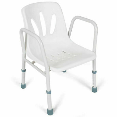Adjustable Height Shower Bath Bench Seat Stool Medical Arm Chair White Plastic