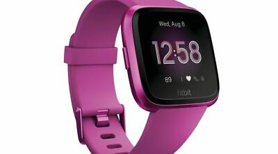 Fitbit Versa Lite Edition Fb415Pmpm Smartwatch Mulberry S&L Bands Included New