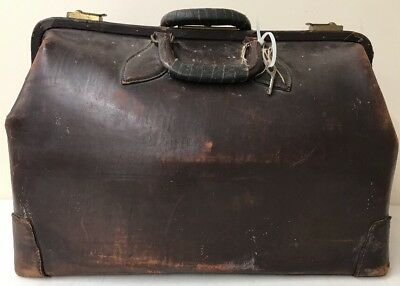 """Large 20"""" Antique Doctors Bag by MC Lilley Co Columbus OH Brown Leather lilly"""