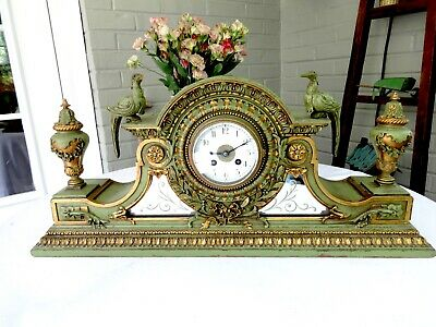 Antique Victorian French Samuel Marti Gilt Carved Wood Mantel Clock W/Birds,Urns