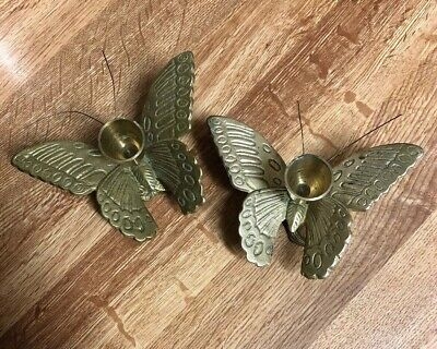 Precious Pair of Vintage Butterfly Candle Holders Solid Brass w Antennas