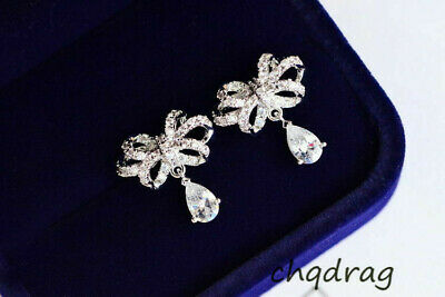 Women fashion Water Drop Teardrop Stud Bowknot Earrings Cubic Zirconia Tone Ear