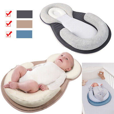Newborn Baby Sleep Soft Pillow Flat Nest Anti-Roll Head Cushion Pod Pillow UK