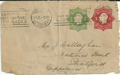 STAMPS 1919 KGV EMBOSSED 1d RED 1/2 GREEN OCTAGON ON PIECE