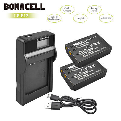 2x LP-E12 Battery+LCD USB Battery Charger LPE12 for Canon EOS M10 M50 M100 WM