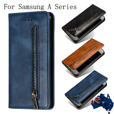 For Samsung A50 A30 A70 A40 A20 2019 Flip Card Wallet Leather Zipper Case Cover