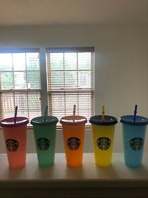 Starbucks COLOR CHANGING CUPS COLD CUPS 2019 IN HAND 24oz Single Cups