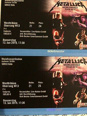 2 Metallica Tickets 13.06.2019 Köln Oberrang
