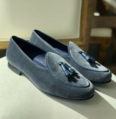 b84bd0f7c7e94 BOMBEROS Mens Gray Velvet Belgian Loafers - Incl. Shoe Bags + Horn, New  Slippers