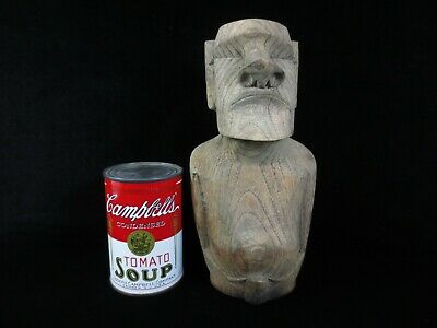 Antique Easter Island Moai - Hand Carved Wood