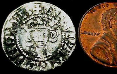 a3: Edward 1st Long Cross Medieval Hammered Silver Penny - Large Flan, London