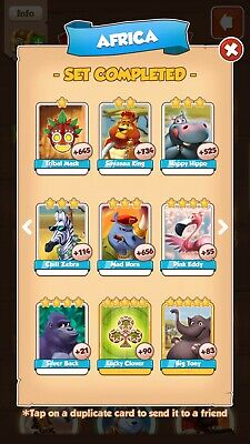 Coin Master Africa Set.any 3 Single Cards For 1.50 Please Read Item Description.