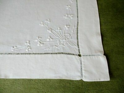 Antique Tablecloth -  Hand Embroidered Shamrocks - Linen