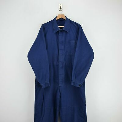 Vintage Workwear Coverall Indigo Blue French Style Overalls Boiler Suit L