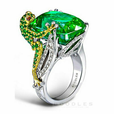 925Silver Plated Emerald 6.8CT Wedding 6-10 Fashion Size Ring Women Jewelry Frog