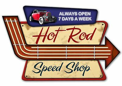 VINTAGE SIGN Made USA Hot Rod Speed Shop 23 x 15