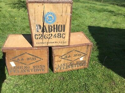 3 VINTAGE WOODEN TEA CHESTS CRATE SIZE 2 in very good condition