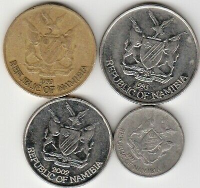 4 different world coins from NAMIBIA