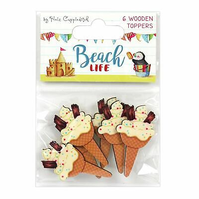 6 BEACH LIFE Wooden Ice Cream Cone Summer Card Making Craft Embellishments