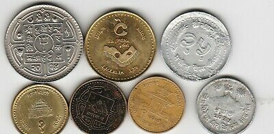 7 different world coins from NEPAL