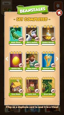COIN MASTER BEANSTALKS SET. ANY 3 SlNGLE  CARDS FOR £2.  READ DESCRIPTION PLEASE