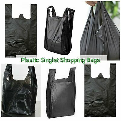 1500pc White Plastic Singlet Grocery Shopping Checkout Bags BULK 50H x 25W