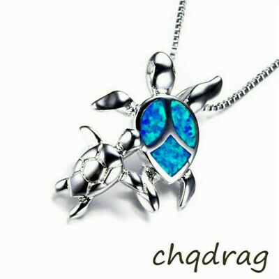 Gifts 925 Silver Turtles Blue Fire Opal Pendant Necklace Women Annimal Jewelry