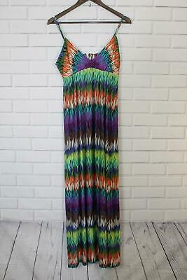 ECI New York Womens Long Maxi Dress Sz M Multi-Color Spaghetti Strap