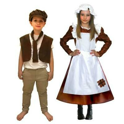 Girls Boys Victorian Costume Kids Poor Maid Urchin Fancy Dress Outfit Book Day