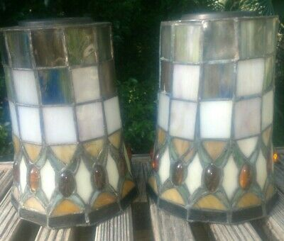 Vintage Set of 2 beautiful Stained Glass light fixtures