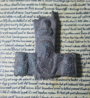 SHABTISHOP -Late Roman / Byzantine Bronze Reliquary Cross Fragment, with Christ.