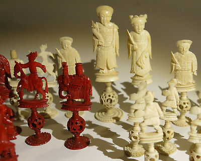 Beautifully Carved Puzzle Ball Genuine Late 19th Century Cantonese Chess Set