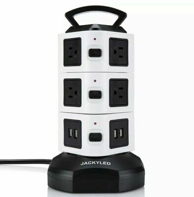 Power Strip Tower 10 Outlet Plugs JACKYLED 3000W 13A Surge Protector Electric