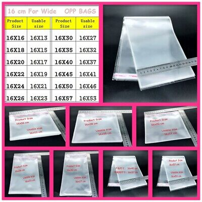 16cm wide Self Sealable Peel & Seal OPP Clear Plastic Cellophane Cello OPP Bags
