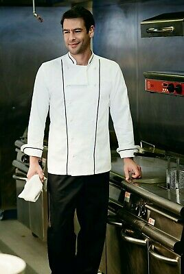 Simon Jersey Executive Unisex Chef Jacket Chefs White Black Piping Cj1830