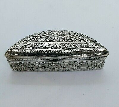 Antique Burmese Silver Lime Box, Gilt Interior, Shan States, Late 19Th C