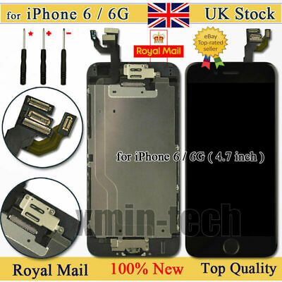 Black For iPhone 6 Screen Replacement LCD Display Touch Digitizer Button Camera