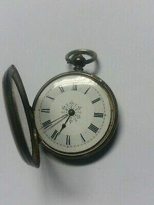 Pocket Watch Antique 41 Mm Fine Silver Beautiful Ornamental Face  Not Working
