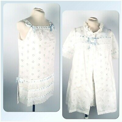 e8a8485af Vintage 1960s Saramal Lingerie Set Nightgown Robe Short White Eyelet Lace  38 P