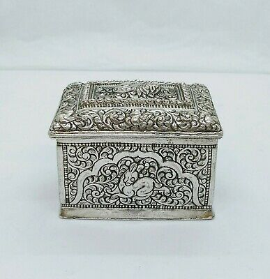 Antique Burmese Silver Square Lime Box, Repousse, Shan States, Late 19Th C