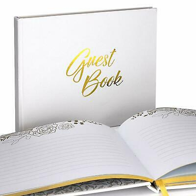 Unique Wedding Guest Book With Rustic Trim And Gold Stamped Foil Set