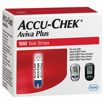Accu-Chek Aviva Plus Glucose Blood Test Strips (100 Pack) Expires 3/19 - 4/19